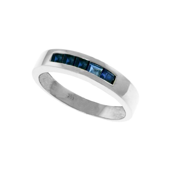 Genuine 0.60 ctw Sapphire Ring 14KT White Gold - REF-47T5A