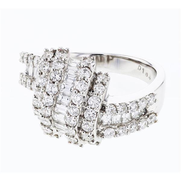 Natural 1.69 CTW Diamond & Baguette Ring 18K White Gold - REF-227H7W
