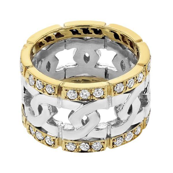 Natural 0.88 CTW Diamond Ring W=13MM PLT/18K Gold - REF-314H3W