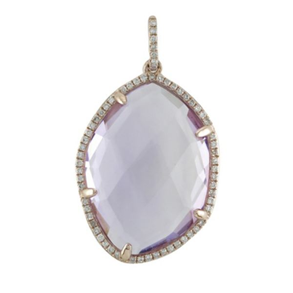Natural 14.70 CTW Amethyst & Diamond Necklace 14K Rose Gold - REF-59Y4N