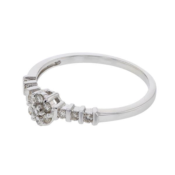 Natural 0.24 CTW Diamond Ring 14K White Gold - REF-40X5T