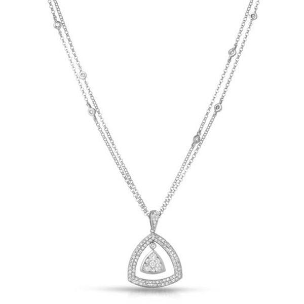 Natural 0.85 CTW Diamond Necklace 14K Gold - REF-128H7W