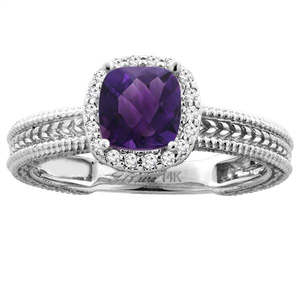 1.60 CTW Amethyst & Diamond Ring 14K White Gold - REF-45H3M
