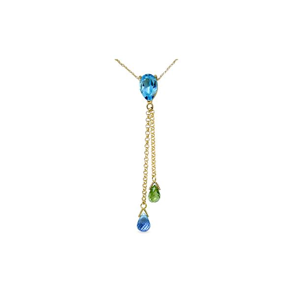 Genuine 3.75 ctw Blue Topaz & Peridot Necklace 14KT Yellow Gold - REF-23N5R