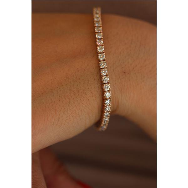 Natural 6.02 ctw Diamond Eternity Tennis Bracelet 18K Rose Gold - REF-498Y2W