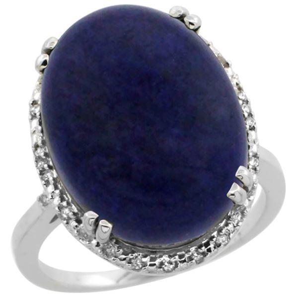 9.60 CTW Lapis Lazuli & Diamond Ring 10K White Gold - REF-43X3M