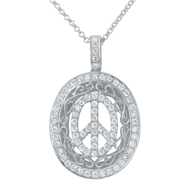 Natural 0.65 CTW Diamond Necklace 14K White Gold - REF-63N2Y
