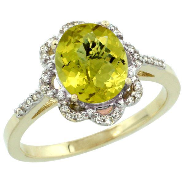 1.86 CTW Lemon Quartz & Diamond Ring 10K Yellow Gold - REF-36Y2V