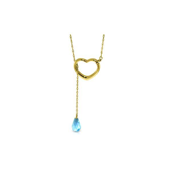 Genuine 2.25 ctw Blue Topaz Necklace 14KT Yellow Gold - REF-32H9X