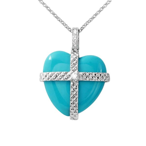 Natural 11.85 CTW Turquoise & Diamond Necklace 14K White Gold - REF-36W9H