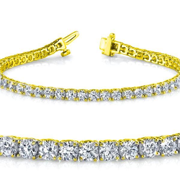 Natural 4.04ct VS2-SI1 Diamond Tennis Bracelet 18K Yellow Gold - REF-348X5F