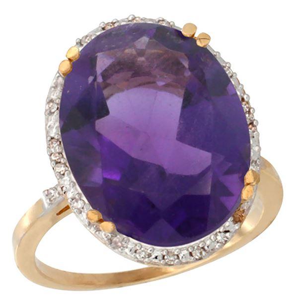 13.71 CTW Amethyst & Diamond Ring 10K Yellow Gold - REF-57M6K