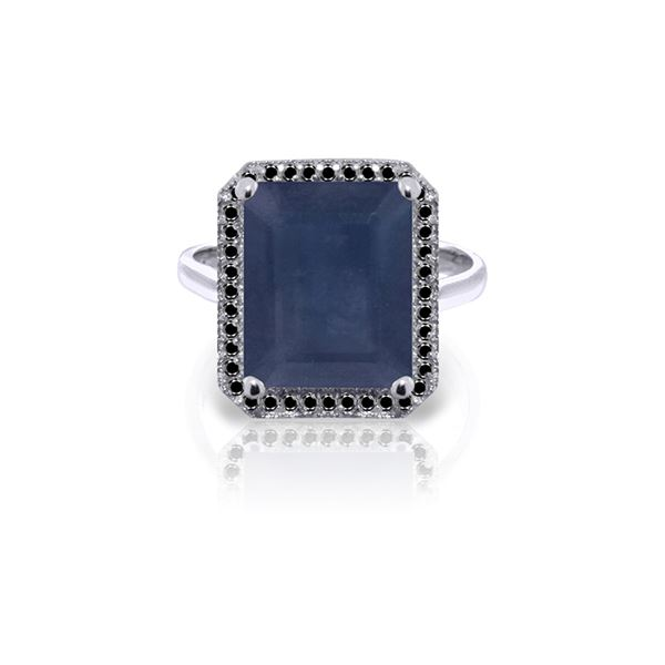 Genuine 6.6 ctw Sapphire & Black Diamond Ring 14KT White Gold - REF-111Y7F
