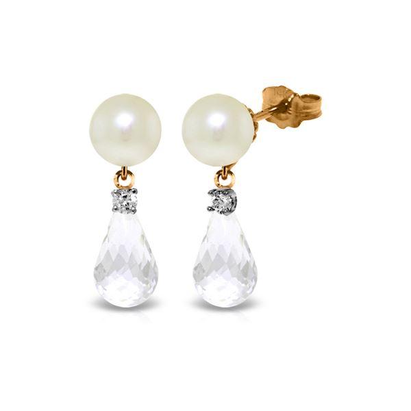 Genuine 6.6 ctw White Topaz & Diamond Earrings 14KT Rose Gold - REF-27H6X
