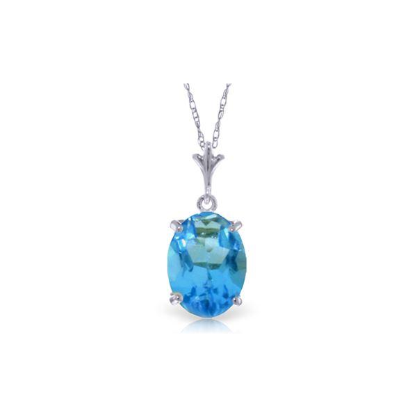 Genuine 3.12 ctw Blue Topaz Necklace 14KT White Gold - REF-22Z2N