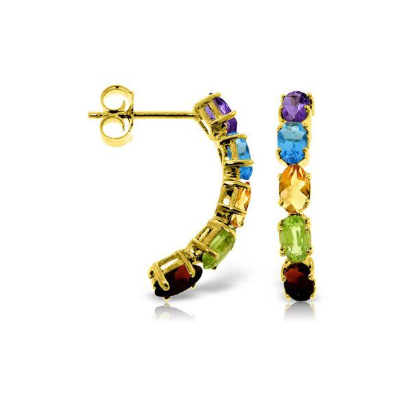 Genuine 2.5 ctw Multi-gemstones Earrings 14KT Yellow Gold - REF-37W4Y
