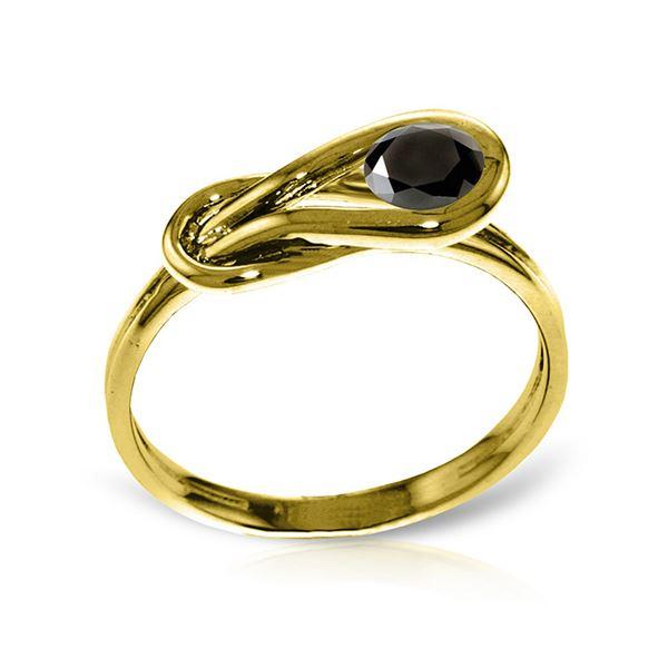 Genuine 0.50 ctw Black Diamond Ring 14KT Yellow Gold - REF-77H2X
