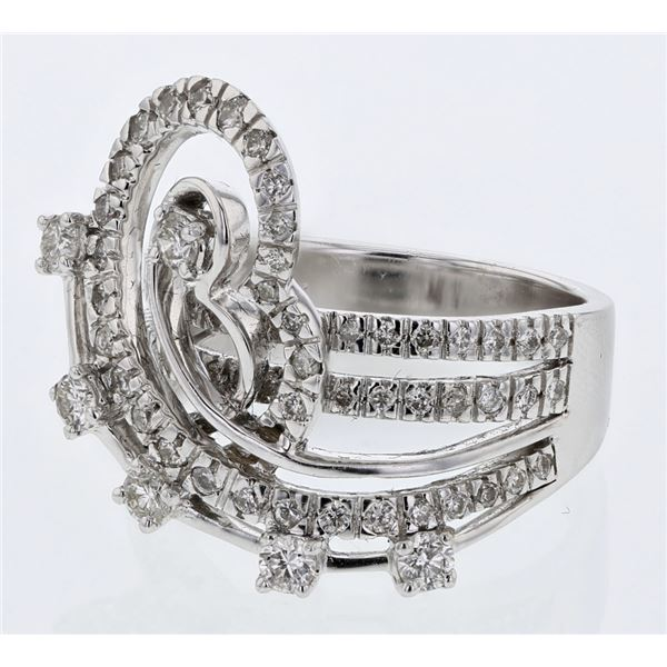 Natural 1.21 CTW Diamond Ring 14K White Gold - REF-153F2M