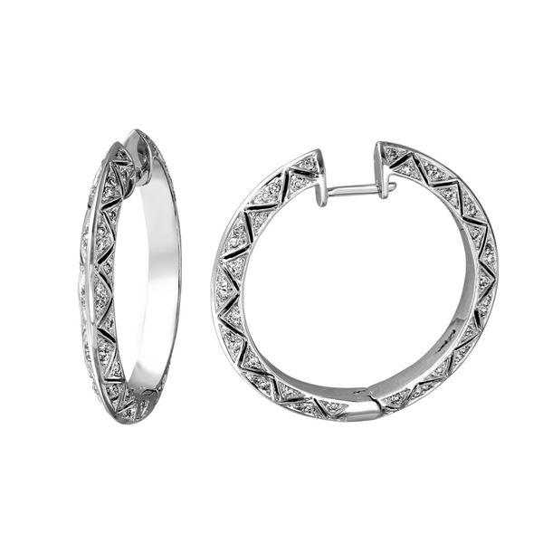 Natural 0.83 CTW Diamond Earrings 14K White Gold - REF-149N4Y