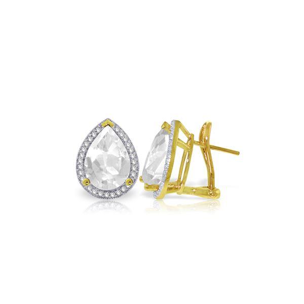 Genuine 11.22 ctw White Topaz & Diamond Earrings 14KT Yellow Gold - REF-123M4T