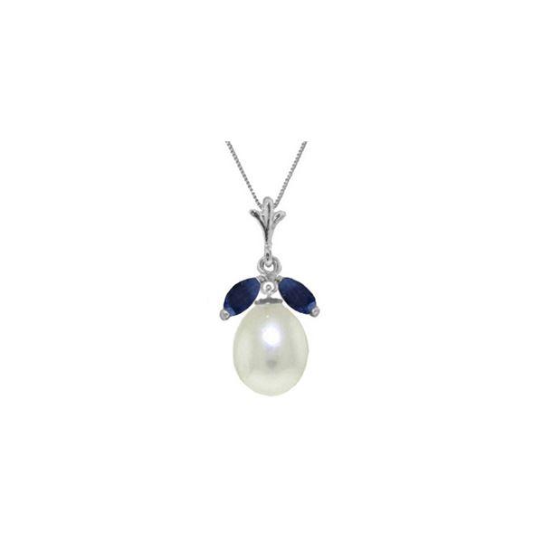 Genuine 4.5 ctw Pearl & Sapphire Necklace 14KT White Gold - REF-25K8V