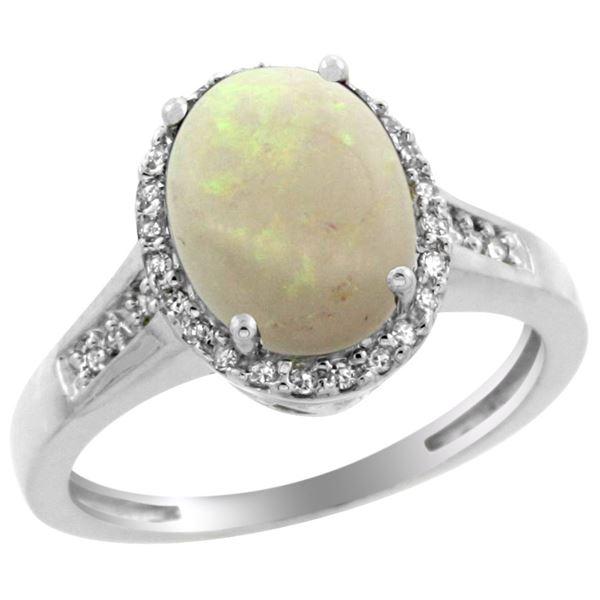 2.60 CTW Opal & Diamond Ring 14K White Gold - REF-54F4N