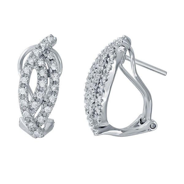 Natural 0.43 CTW Diamond Earrings 18K White Gold - REF-83F7M