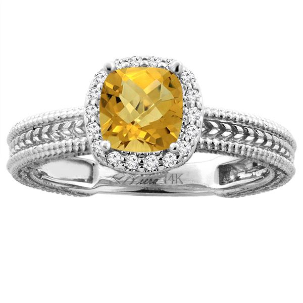 1.60 CTW Quartz & Diamond Ring 14K White Gold - REF-44V7R