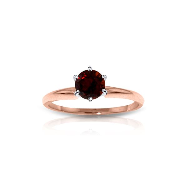Genuine 0.65 ctw Garnet Ring 14KT Rose Gold - REF-26Y9F