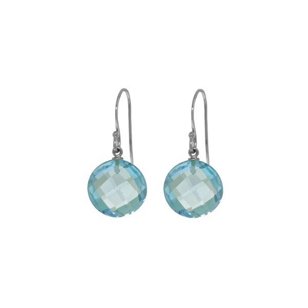 Genuine 12 ctw Blue Topaz Earrings 14KT White Gold - REF-24K4V