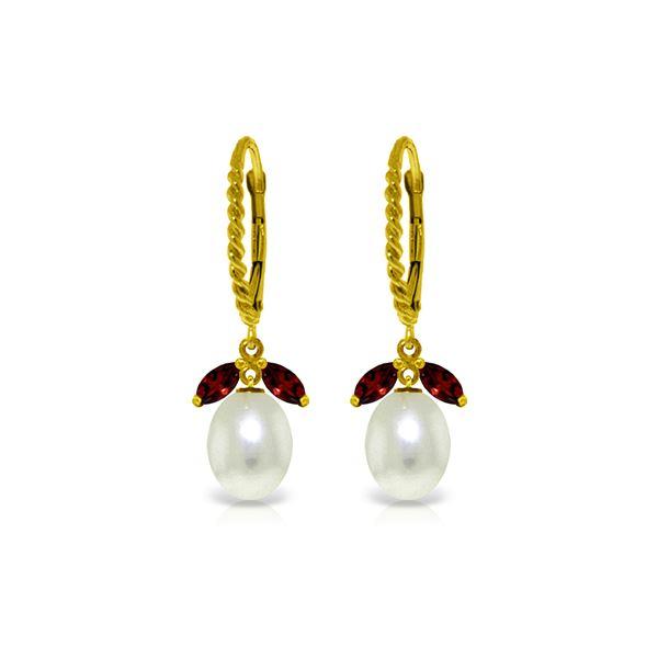 Genuine 9 ctw Garnet & Pearl Earrings 14KT Yellow Gold - REF-39Z3N