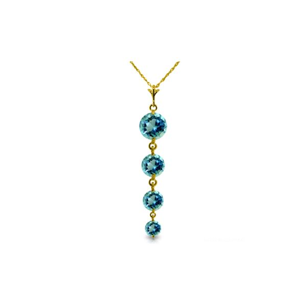 Genuine 3.9 ctw Blue Topaz Necklace 14KT Yellow Gold - REF-23W5Y