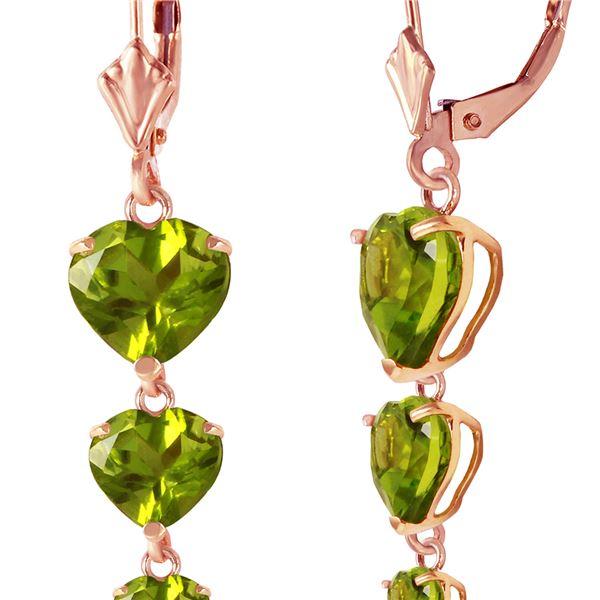 Genuine 6 ctw Peridot Earrings 14KT Rose Gold - REF-66P9H