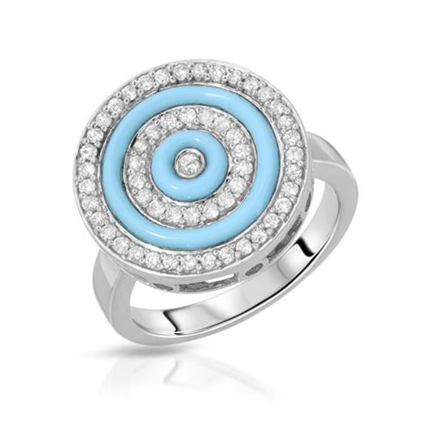 Natural 1.17 CTW Turquoise & Diamond Ring 14K Gold - REF-69N3Y