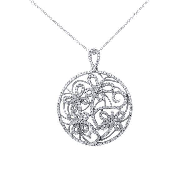 Natural 1 CTW Diamond & Black Round Diamond Necklace 14K White Gold - REF-102F6M