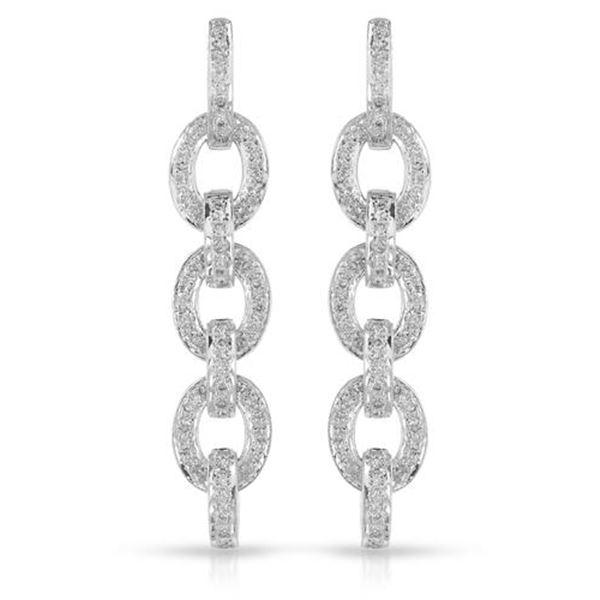 Natural 0.71 CTW Diamond Earrings 14K White Gold - REF-108K9R