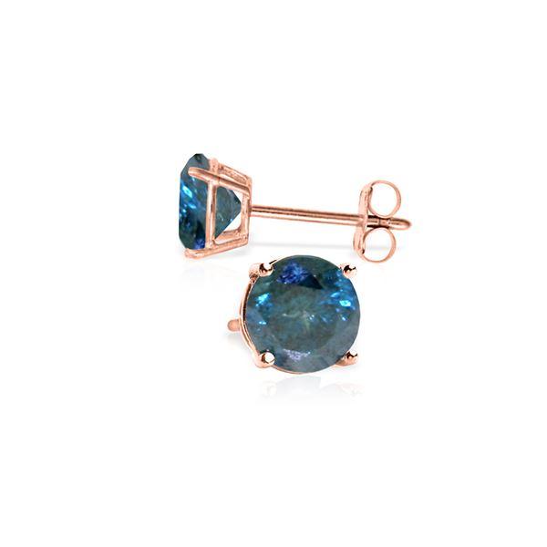 Genuine 1.0 ctw Blue Diamond Earrings 14KT Rose Gold - REF-202F2Z