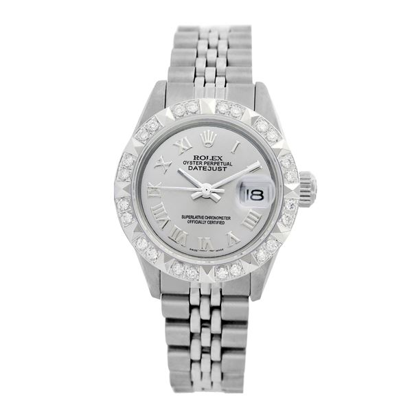 Rolex Pre-owned 26mm Womens Custom Grey Stainless Steel