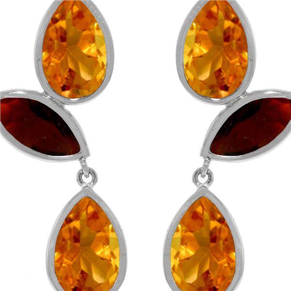 Genuine 13 ctw Citrine & Garnet Earrings 14KT White Gold - REF-58R7P