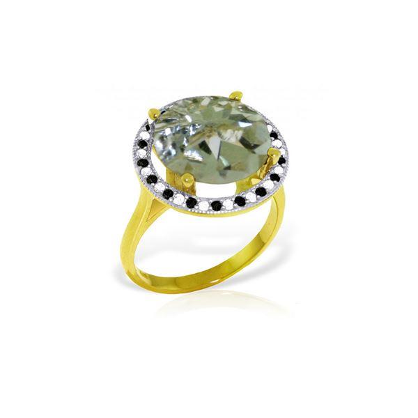 Genuine 5.2 ctw Green Amethyst, White & Black Diamond Ring 14KT Yellow Gold - REF-90Z6N