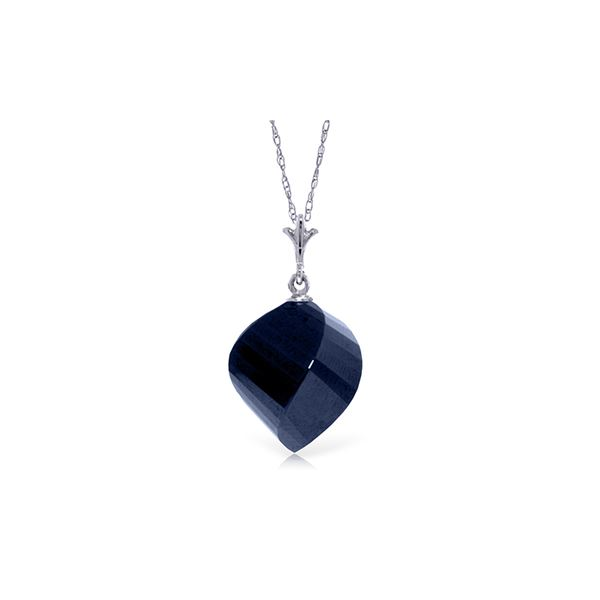 Genuine 15.25 ctw Sapphire Necklace 14KT White Gold - REF-26K7V