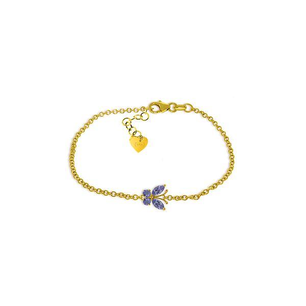 Genuine 0.60 ctw Tanzanite Bracelet 14KT Yellow Gold - REF-45N7R