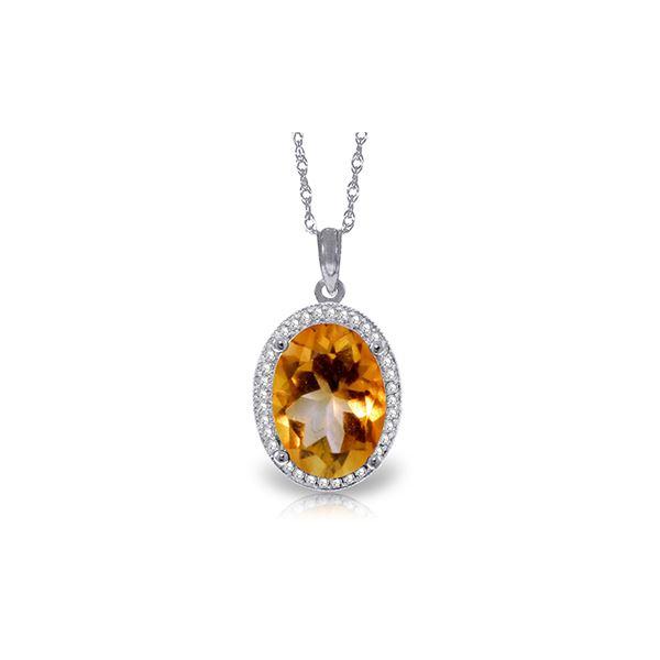 Genuine 4.88 ctw Citrine & Diamond Necklace 14KT White Gold - REF-70Y2F