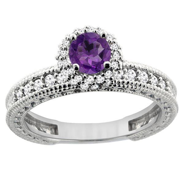 0.77 CTW Amethyst & Diamond Ring 14K White Gold - REF-65X8M