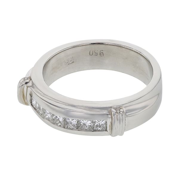 Natural 0.30 CTW Princess Diamond Band Ring W=5MM Platinum - REF-179F3M