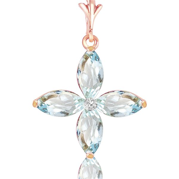 Genuine 1.10 ctw Aquamarine & Diamond Necklace 14KT Rose Gold - REF-30H7X