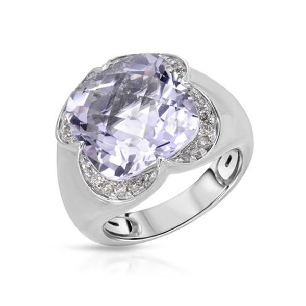Natural 8.64 CTW Amethyst & Diamond Ring W=15MM 14K Gold - REF-93N6Y