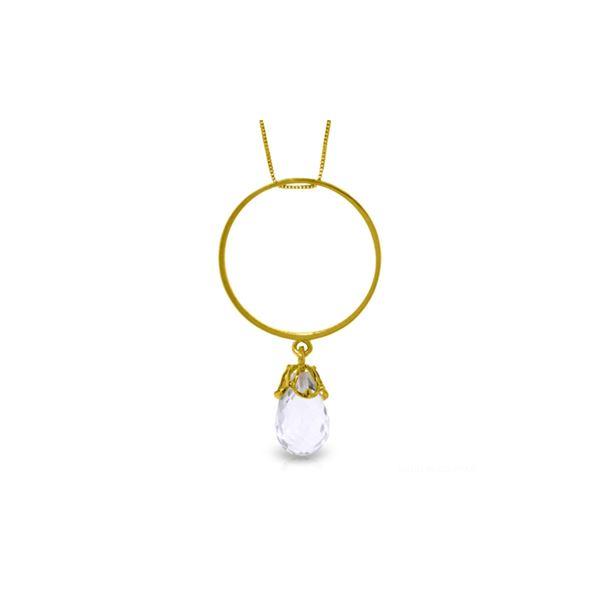 Genuine 3 ctw White Topaz Necklace 14KT Yellow Gold - REF-24F4Z