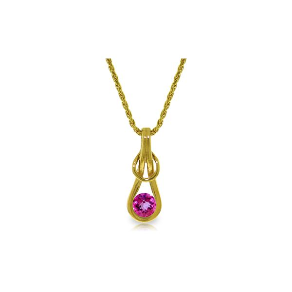 Genuine 0.65 ctw Pink Topaz Necklace 14KT Yellow Gold - REF-73A7K