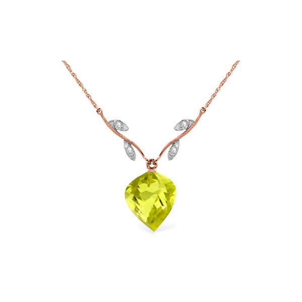 Genuine 10.77 ctw Lemon Quartz & Diamond Necklace 14KT Rose Gold - REF-39Z3N